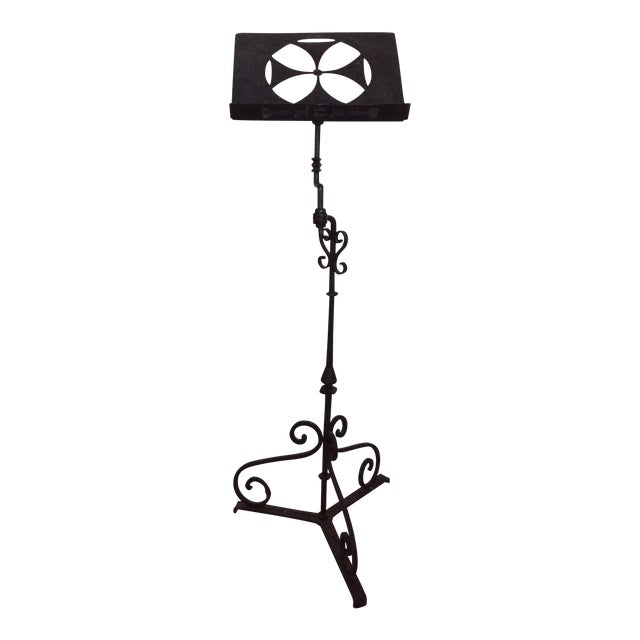 Black Antique Iron Lectern With Maltese Cross For Sale - Image 8 of 8