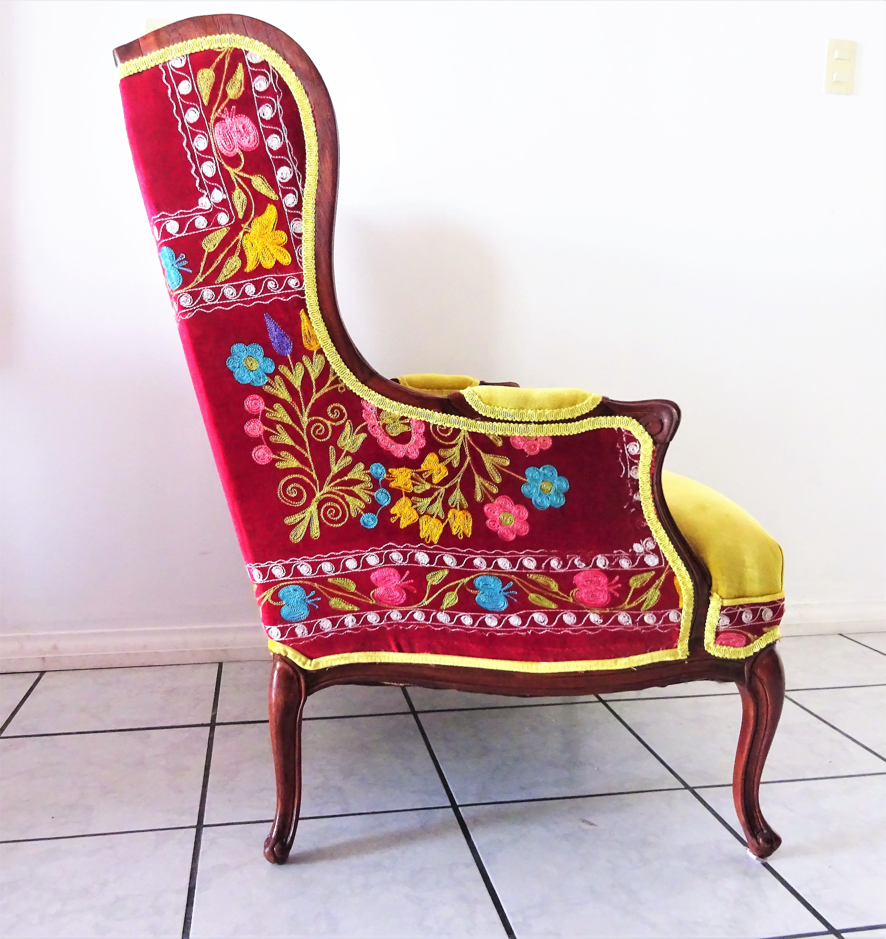 Boho Chic Early 20th Century Suzani Embroidery U0026 Gold Velvet Bohemian  Wooden Wingback Armchair For Sale