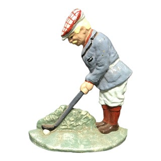 Vintage Cast Iron Golfer Door Stop For Sale