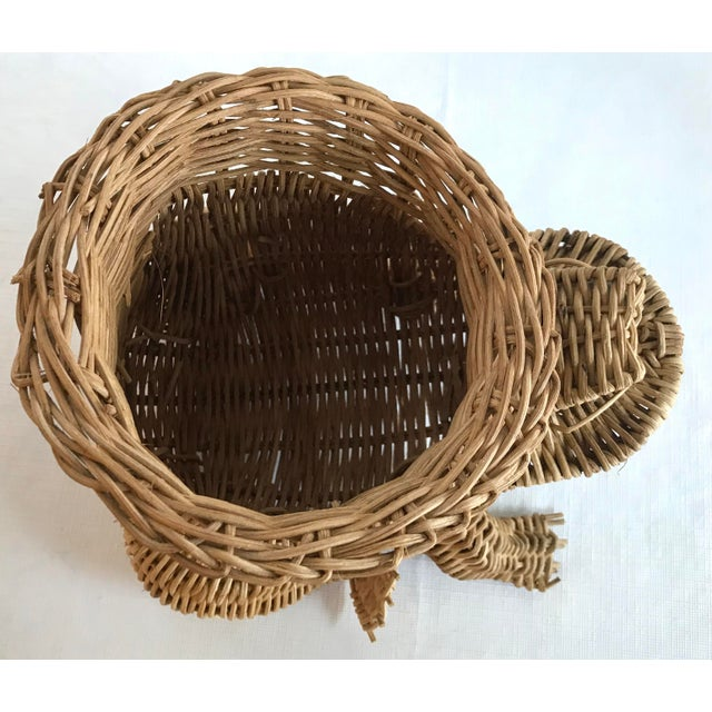 Wicker 20th Century Country Wicker Frog Planter Basket For Sale - Image 7 of 9
