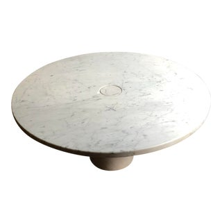 Angelo Mangiarotti Eros White Carerra Marble Coffee Table For Sale