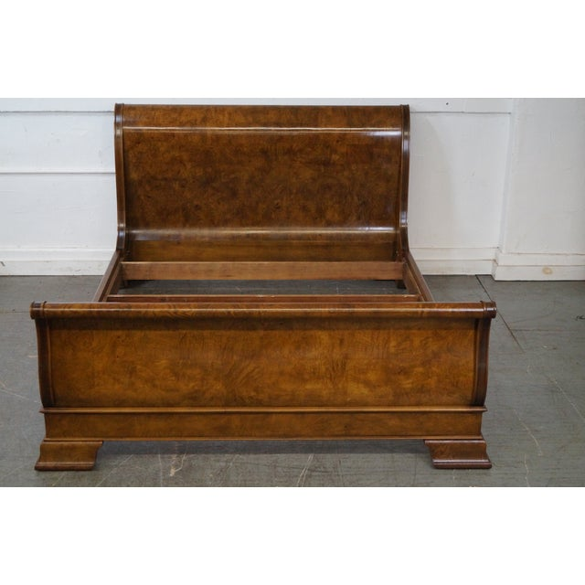 Store Item #: 14703-fwmr Henredon Charles X Queen Size Burl Wood Sleigh Bed AGE/COUNTRY OF ORIGIN: Approx 30 years,...