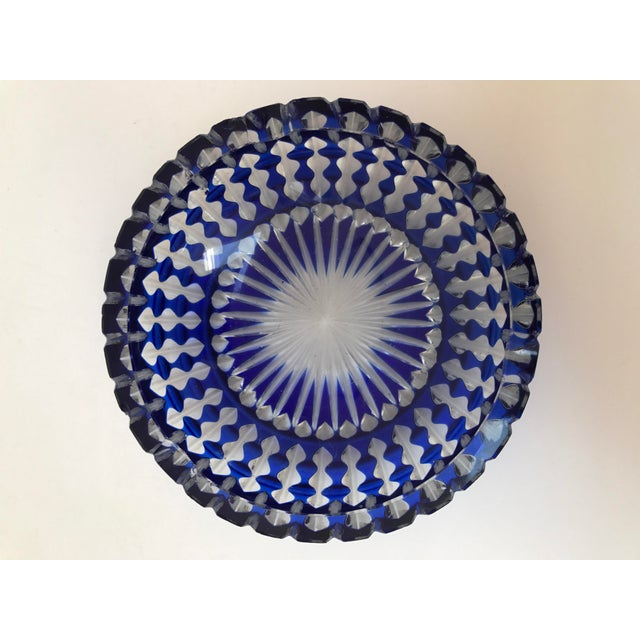 Bohemian cobalt blue lead crystal cut glass ashtray. The color on this blue is so incredibly rich! Couple tiny chips in...