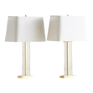 Pair of French Brass and Lucite Column Lamps For Sale