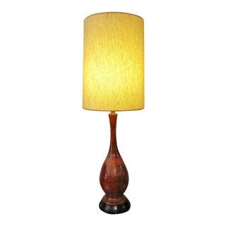 Mid-Century Ceramic Lamp, Great Burnt Orange Color For Sale