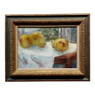 A. Loeffel 1950s Still Life of Pears -Impressionist Oil Painting For Sale