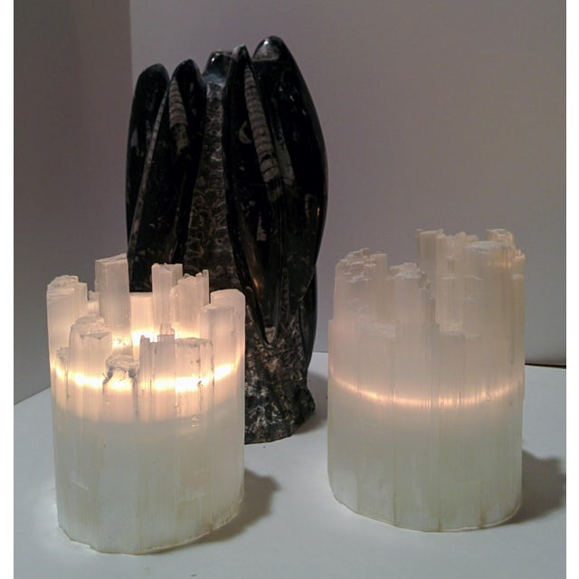 Pair of Selenite Moroccan Crystal Tealight Candle Holders - Image 9 of 9