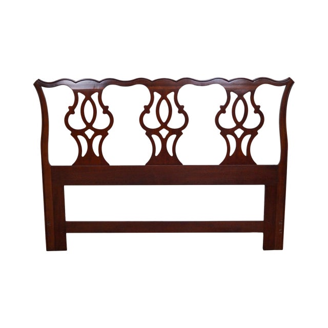 Drexel Heritage Queen Size Cherry Chippendale Style Headboard For Sale
