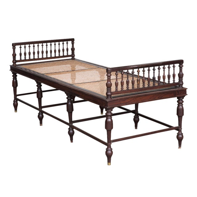 Antique Anglo-Indian Caned Daybed - Image 1 of 10