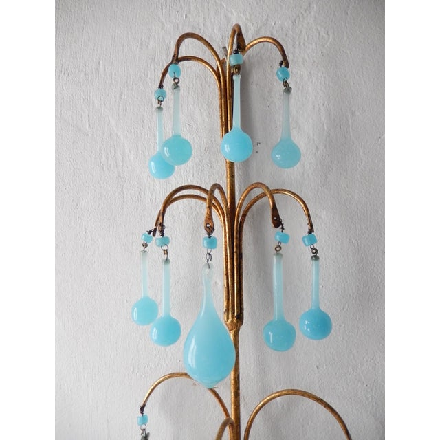 Glass 1920s French Blue Opaline Bobeches Drops & Beads Sconces - a Pair For Sale - Image 7 of 12