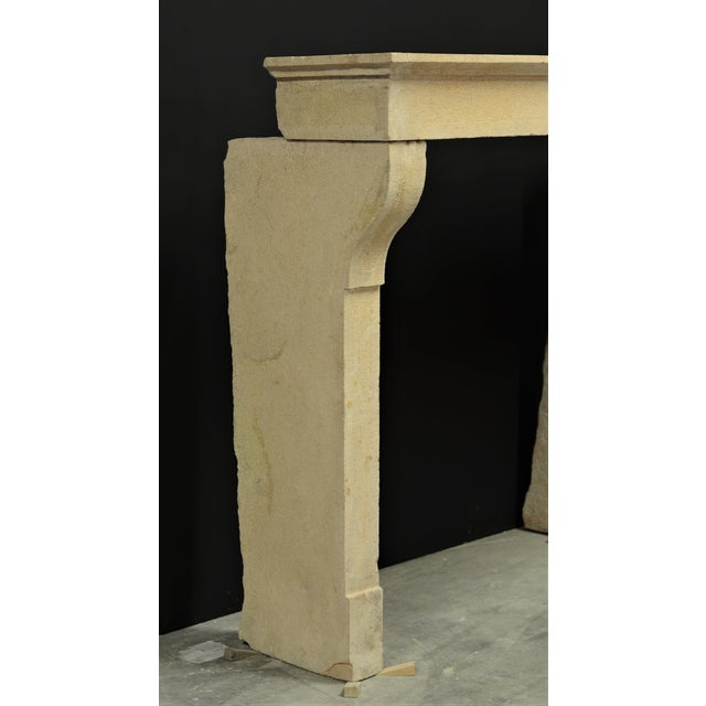 Antique French Limestone Fireplace Mantel, 19th Century For Sale - Image 4 of 8
