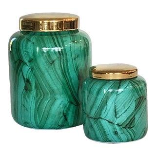 Tozai Home Malachite Jars - Set of 2 For Sale