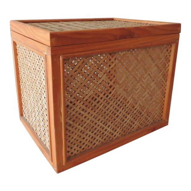 Woven Bamboo Trellis Pattern Filing Box With Lid For Sale