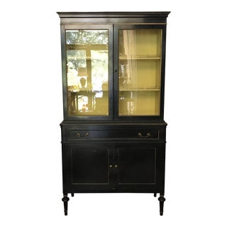 Rockford Black and Yellow China Cabinet With Brass Detail