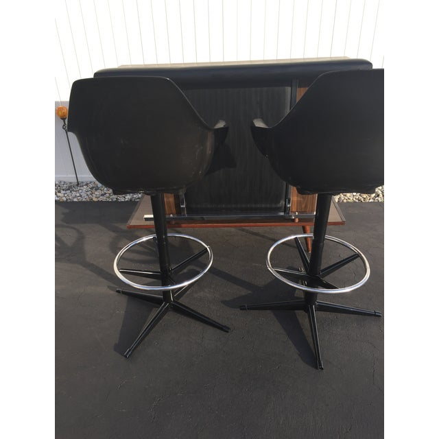 Mid-Century Black Vinyl Bar & Bar Stools - Set of 3 - Image 9 of 11