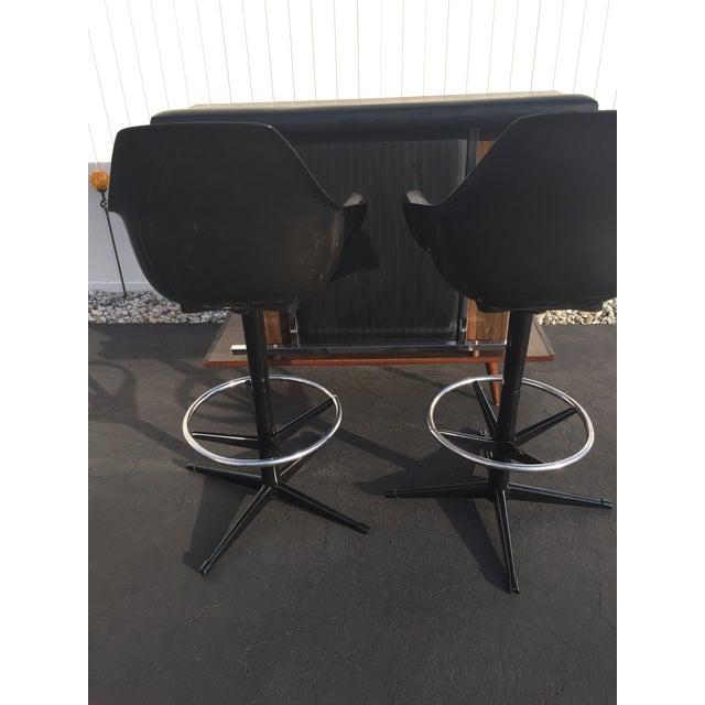 Mid Century Black Vinyl Bar amp Stools Set Of 3 Chairish