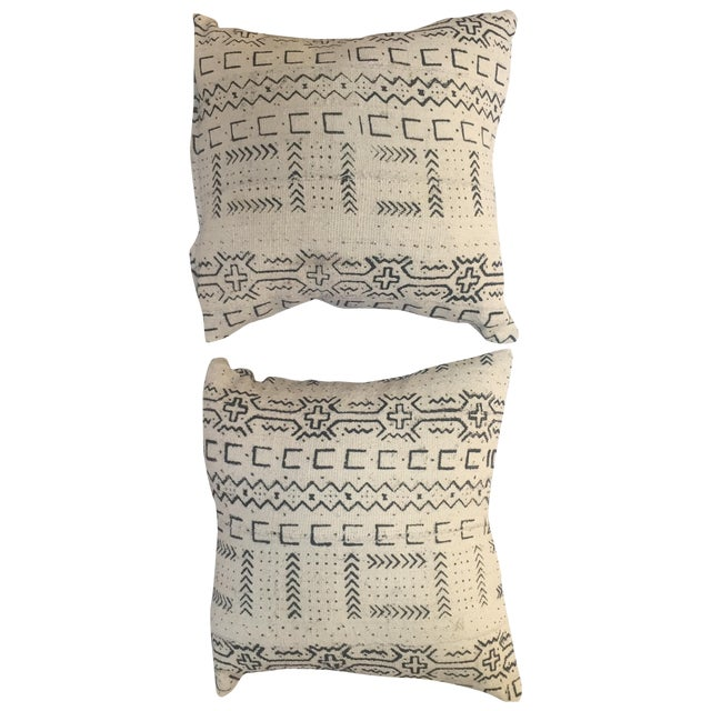 African Mud Cloth Pillows - a Pair - Image 1 of 6