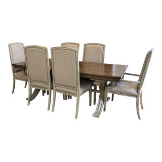 Transitional Dining Table With 6 Chairs - Set of 7