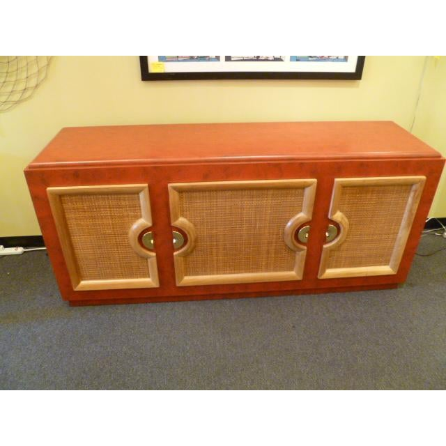 Paul Laszlo Style Mid Century Modern Buffet / Breakfront in Faux Red Leather Finish - Image 4 of 4