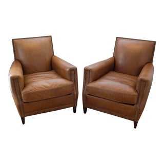 Modern Restoration Hardware Marcel Leather Club Chair- A Pair For Sale