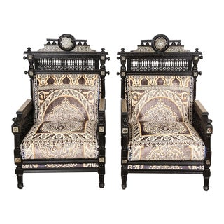 Antique Syrian Moorish Style Black Armchairs - A Pair For Sale