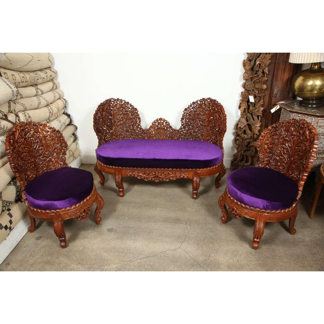 Anglo-Raj Settee and Side Chairs Suite For Sale - Image 10 of 10
