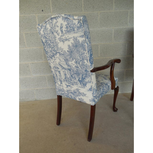 Blue Toile Arm Chairs - A Pair - Image 10 of 10