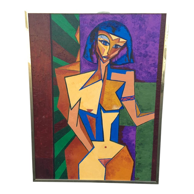 1979 Cubist Nude Woman Oil Painting in Brass Frame For Sale