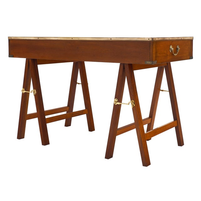 Metal Campaign Style Vintage Mahogany Leather Top Writing Desk For Sale - Image 7 of 9