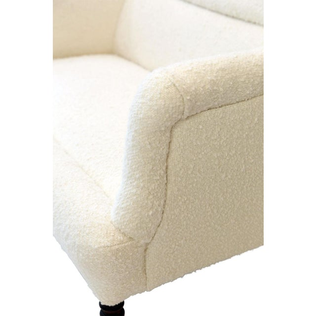 French Settee Upholstered in White Boucle For Sale - Image 11 of 12