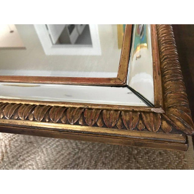 1910s Louis XVI Style 23-Karat Water Gilt Wall Mirror with Convex Glass Border For Sale - Image 5 of 13