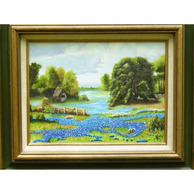 Rustic Countryside Bluebonnet Landscape Original Oil Painting For Sale - Image 3 of 13
