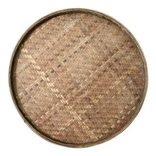 Vintage Large Flat Wall Basket For Sale
