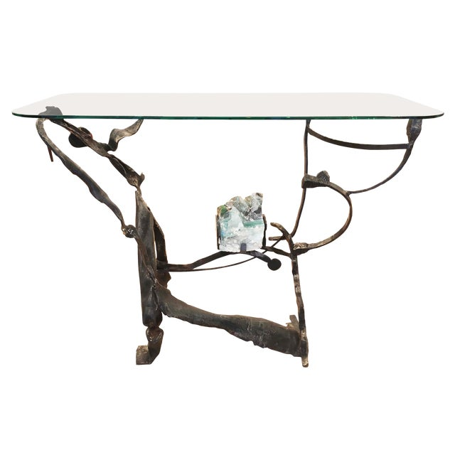Brutalist Iron and Glass Console by Salvino Marsura, Italy, 1970s For Sale