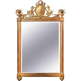Neoclassical Mid-Century Gilt Wall Mirror For Sale