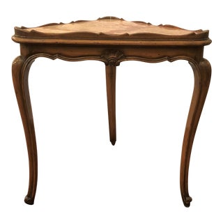 Pair Antique French Shaped Walnut and Marble End Tables.