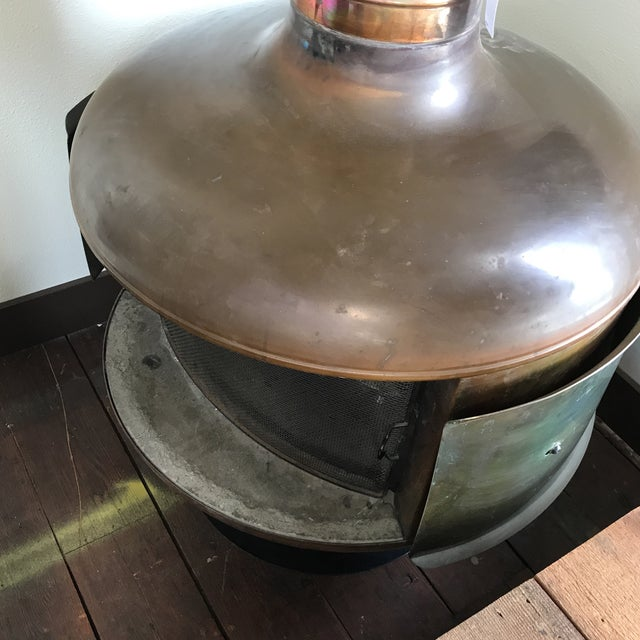 Malm Copper Firedrum Fireplace For Sale - Image 9 of 11