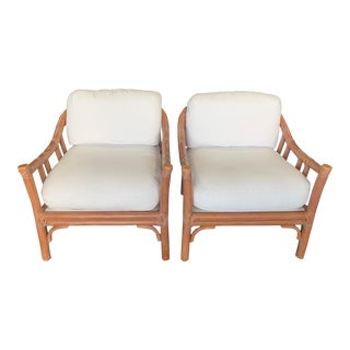 1980s Vintage McGuire Hollywood Regency Bent Rattan Lounge Chairs- A Pair For Sale