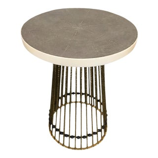Mid-Century Styled Shagreen Top Side Table For Sale