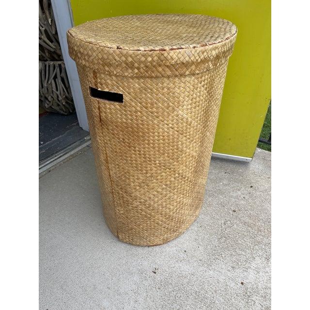 Boho Chic Woven Wicker Hamper For Sale - Image 3 of 9