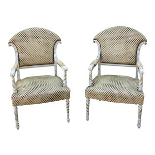 Pair 19th Century Swedish Painted Armchairs For Sale