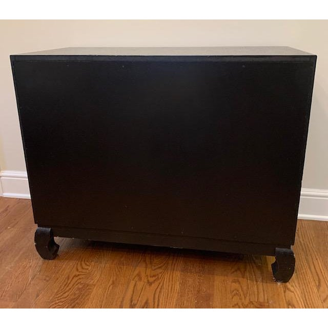 Baker Grasscloth Black Lacquered Ming Cabinet For Sale - Image 9 of 10