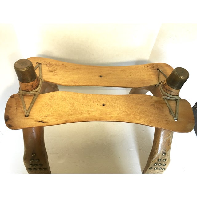 Egyptian Wood & Brass Camel Saddle Ottoman For Sale - Image 5 of 5