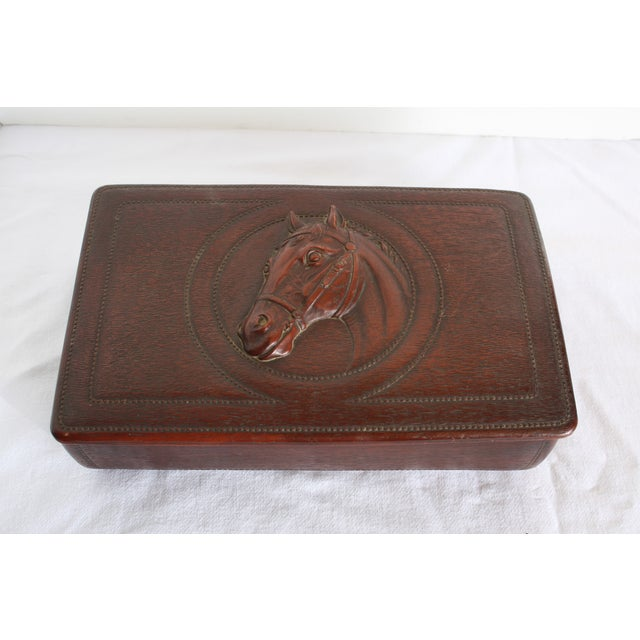 Syroco Midcentury Wood Box with Horse Head Detail - Image 2 of 7