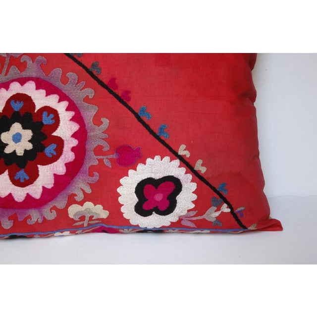 Textile Vintage Needlework Suzani Pillow Cover For Sale - Image 7 of 12