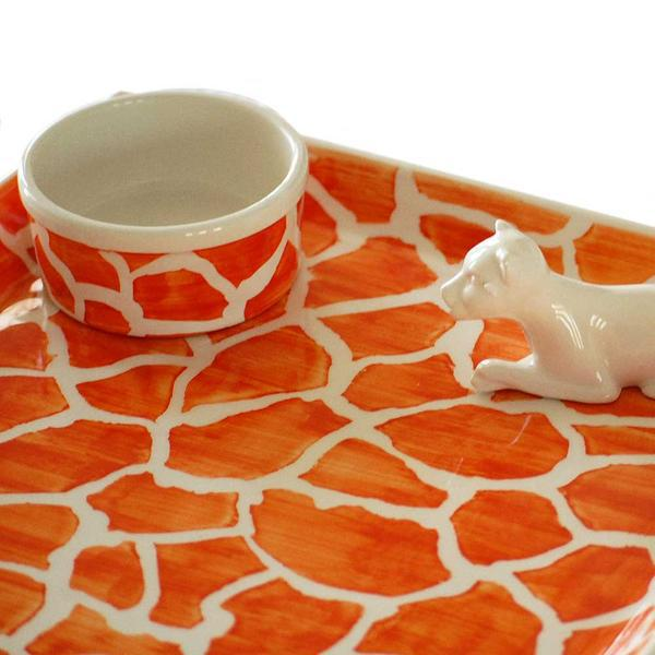 Porcelain Leopard on Orange Giraffe Print Dish - Image 2 of 2