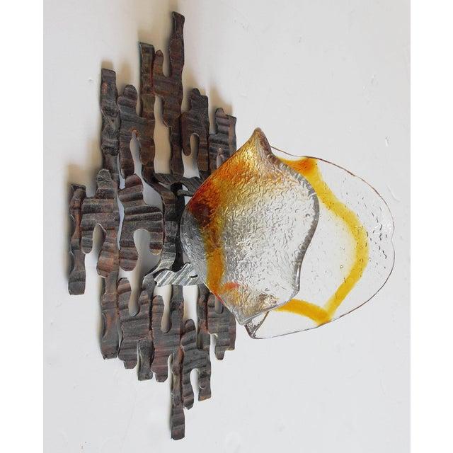 Metal Pair of Brutalist Sconces / Flush Mounts by Tom Ahlström For Sale - Image 7 of 12