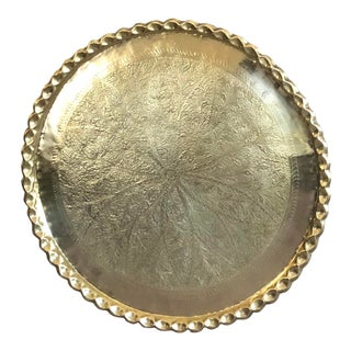 Moroccan Solid Brass Etched Tray/Table Top For Sale