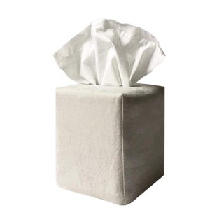 James Tissue Box Cover in Stone For Sale
