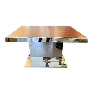 Chrome & Wood Extendable Dining Table For Sale